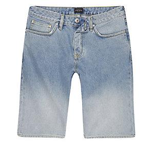 Light blue fade denim shorts