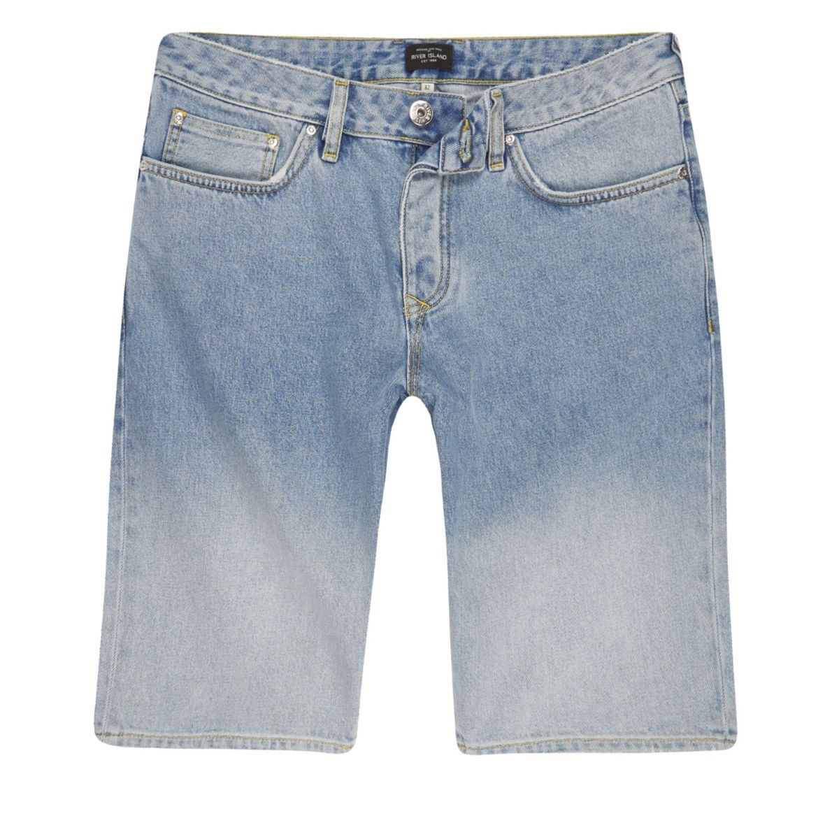 Light blue fade denim shorts