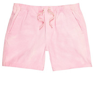 Pink acid wash woven shorts