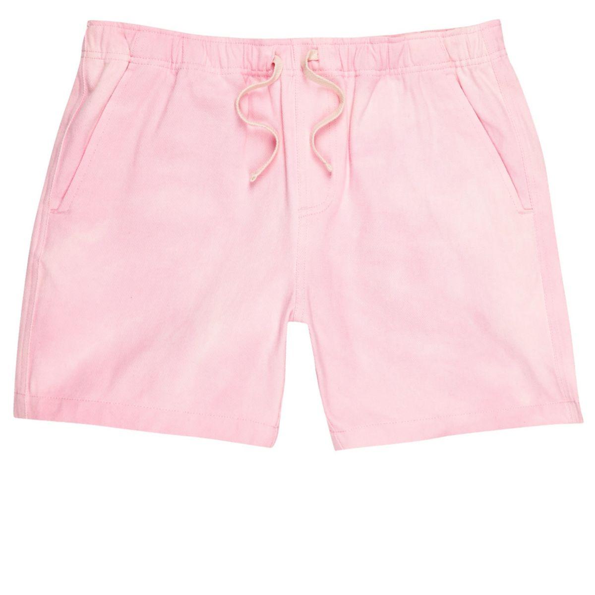 Pink acid wash woven shorts