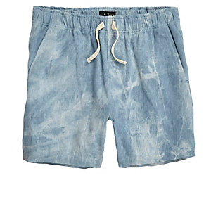 Blue acid wash woven shorts