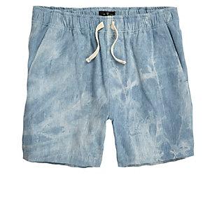 Blue acid wash woven shorts