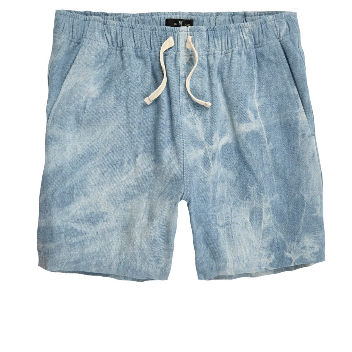 Blauwe acid wash geweven short