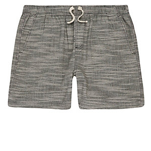 Grey textured woven shorts