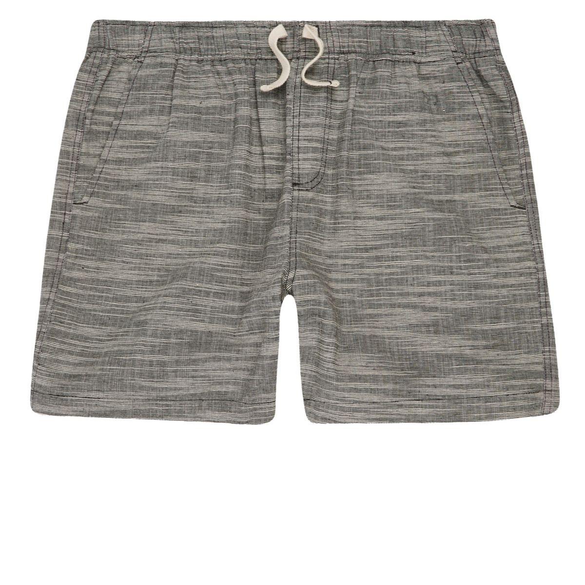 Grey textured woven shorts