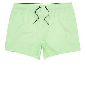 Green acid wash short swim shorts