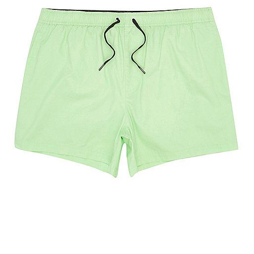 Green acid wash short swim shorts