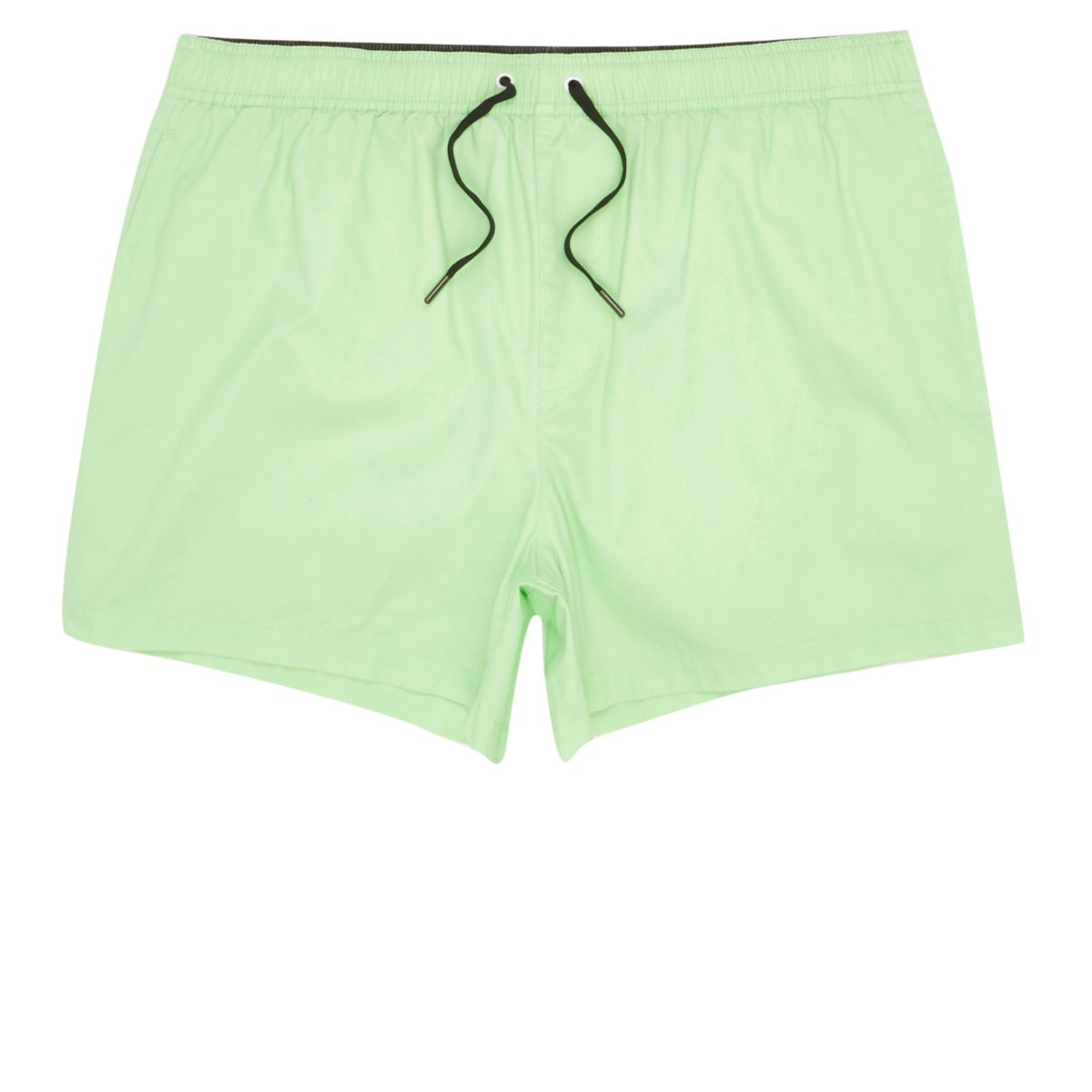 Green acid wash short swim trunks