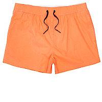 Orange acid wash short swim trunks