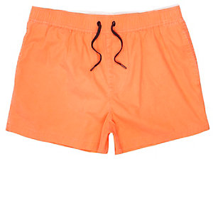 Orange acid wash short swim shorts
