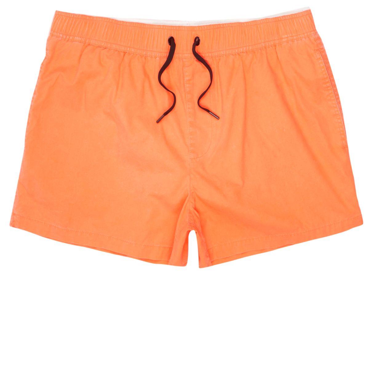 Orange acid wash short swim shorts