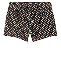 Black acid wash pineapple short swim shorts