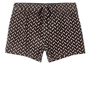 Black acid wash pineapple short swim trunks