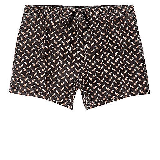 Black acid wash pineapple short swim shorts