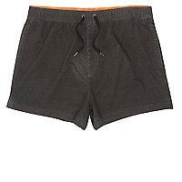 Black acid wash short swim trunks