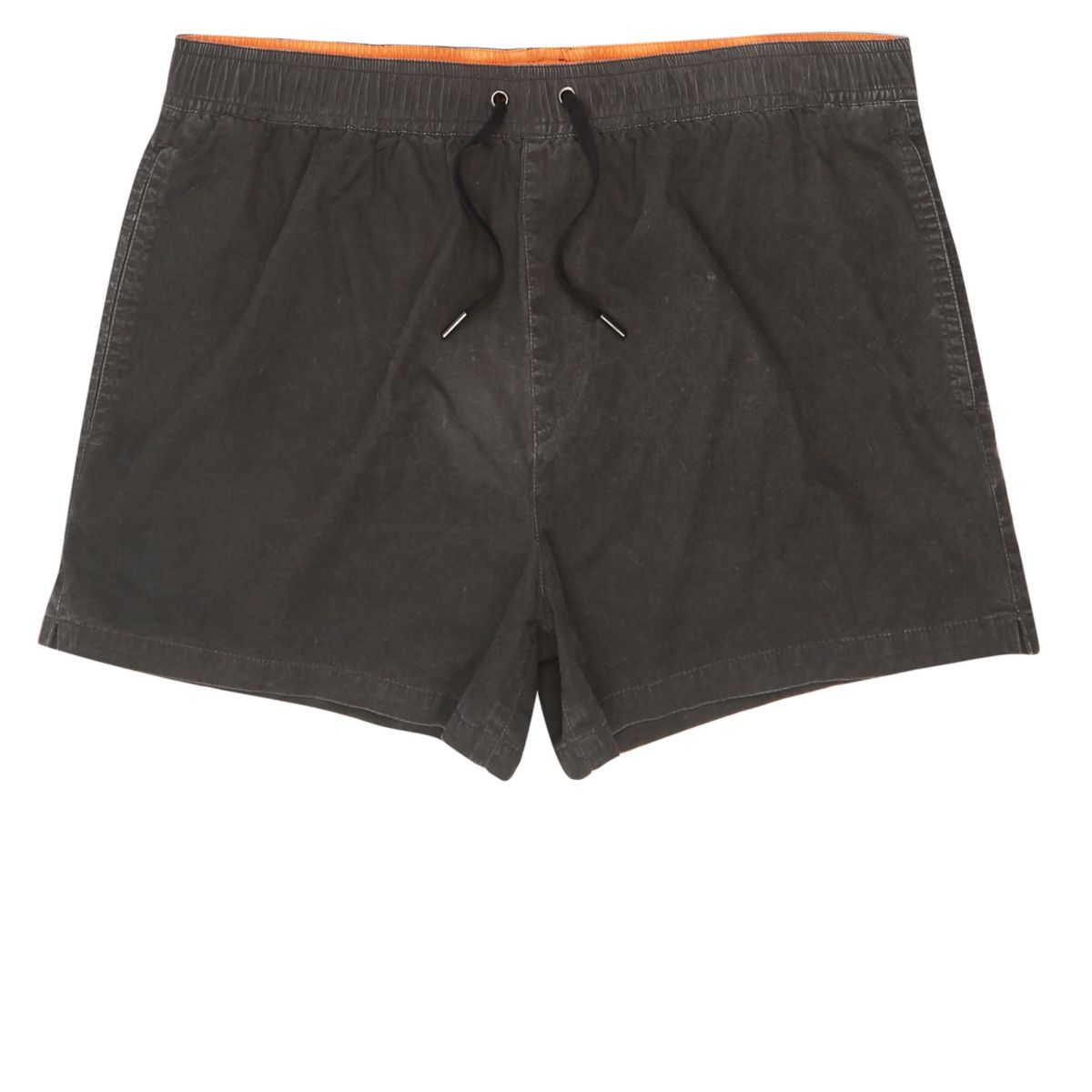 Black acid wash short swim trunks