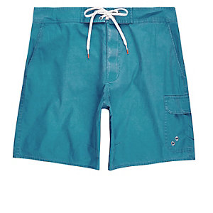 Blue acid wash swim trunks
