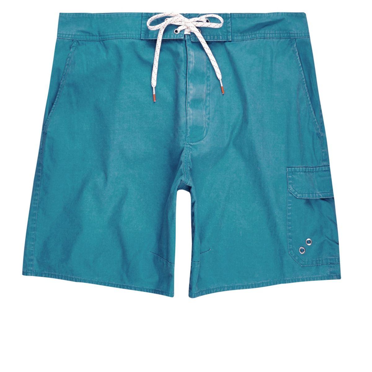 Blauwe acid wash zwemshort