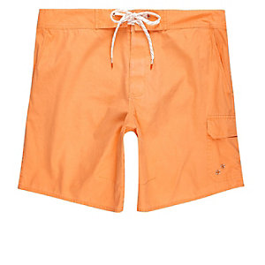 Orange acid wash swim trunks