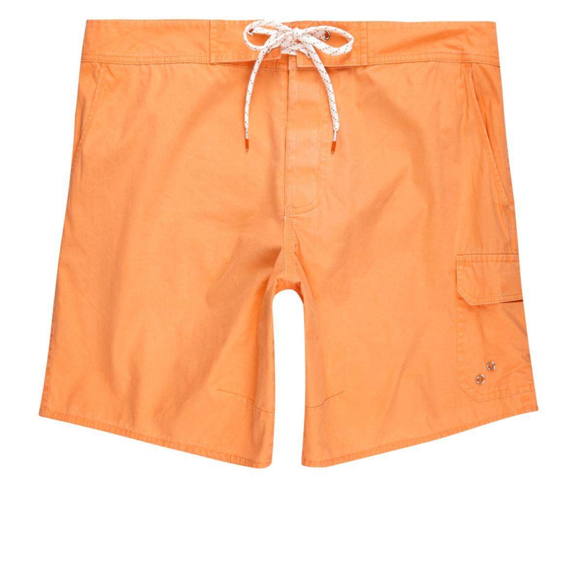 Orange acid wash swim trunks