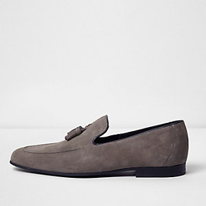 Grey suede tassel loafers