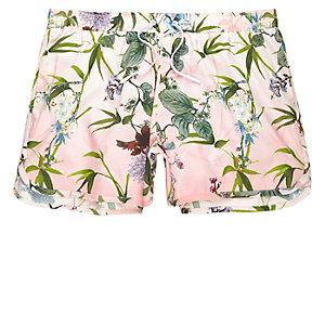 Pink floral print short swim shorts