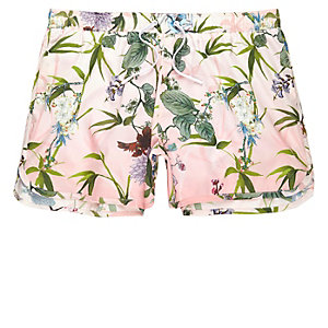 Pink floral print short swim trunks