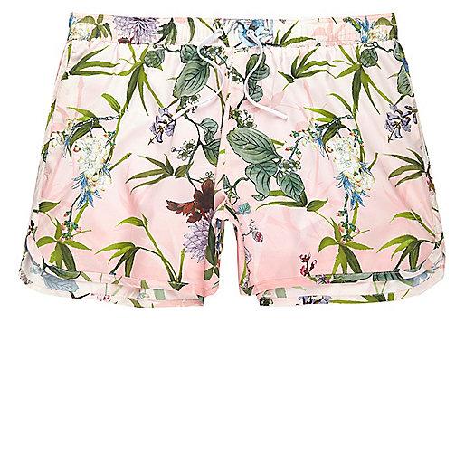 Pink floral print short swim trunks