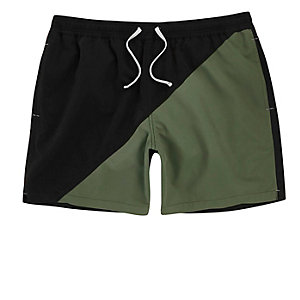 Dark green color block swim trunks