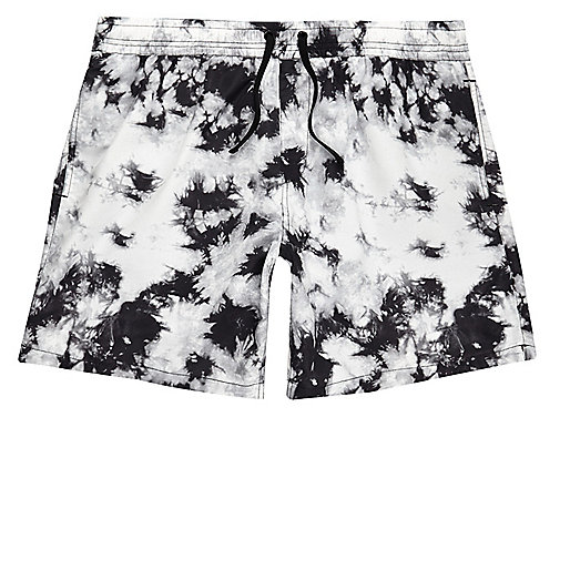 Black tie dye swim shorts