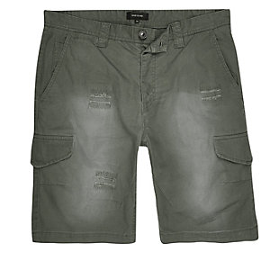 Dark green ripstop cargo shorts