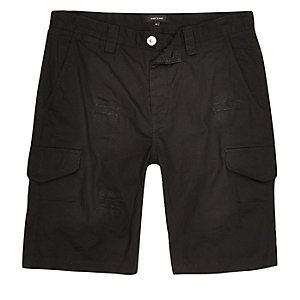 Black slim fit distressed cargo shorts