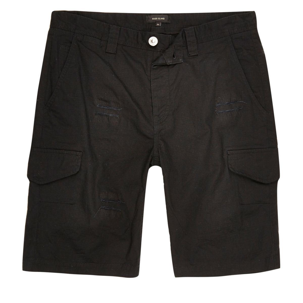 Black slim fit distressed cargo shorts
