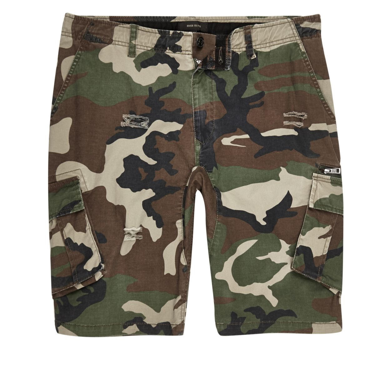 Dark green camo slim fit cargo shorts