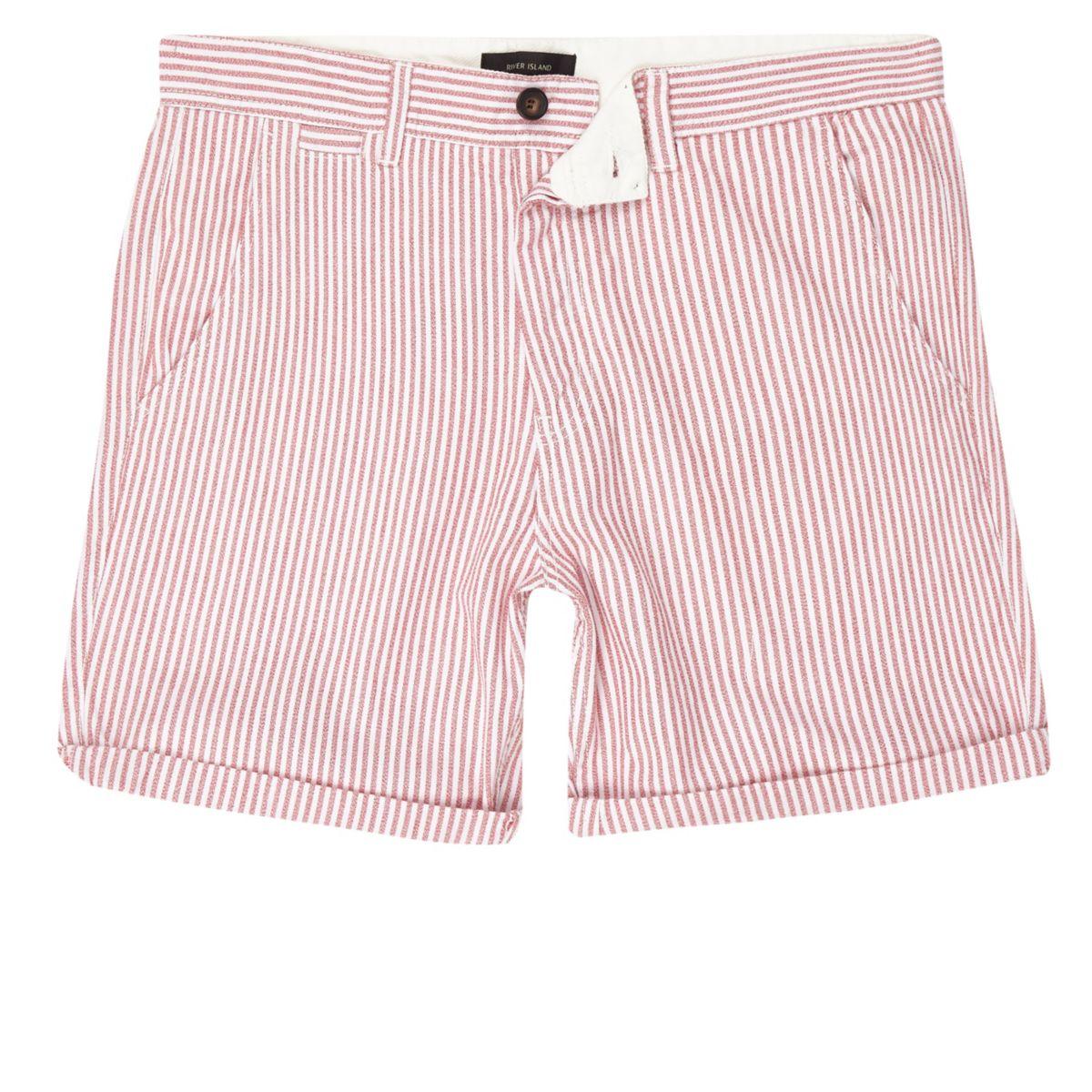 Red stripe chino shorts
