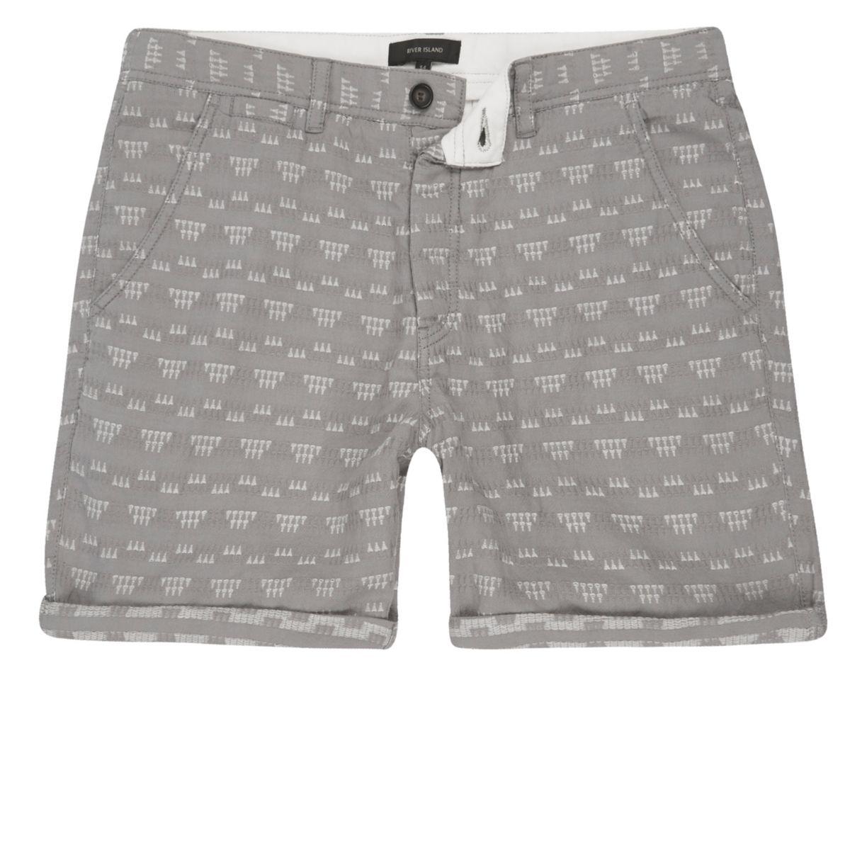 Grey textured geo shorts