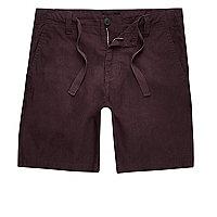 Weinrote Shorts aus Leinenmischung