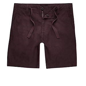 Burgundy red linen blend shorts