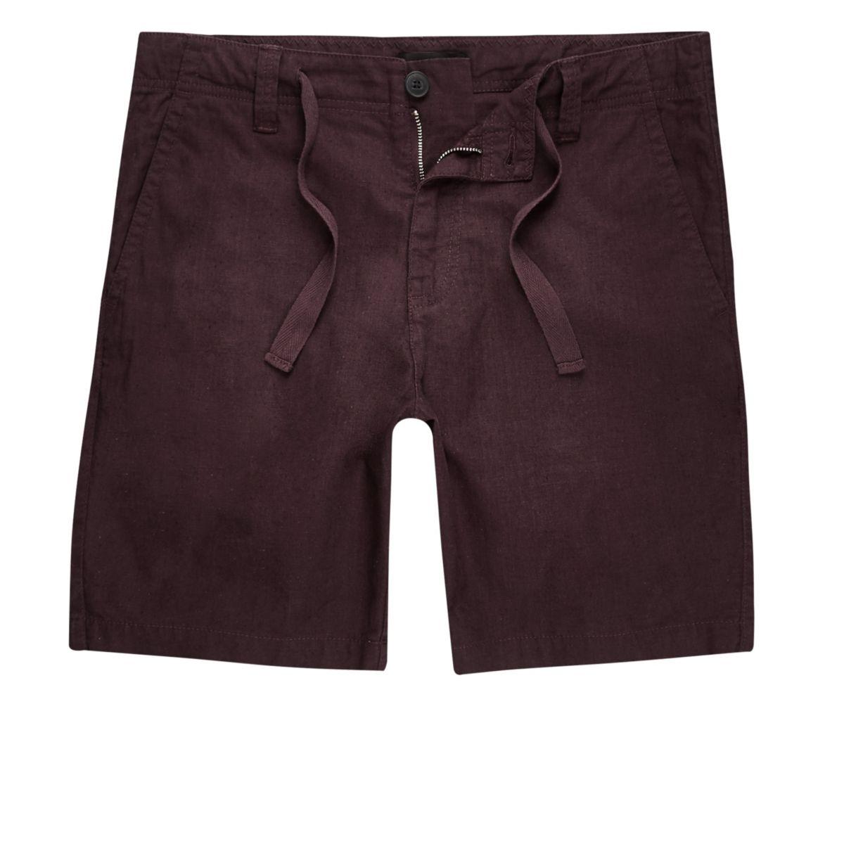 Burgundy red linen blend shorts