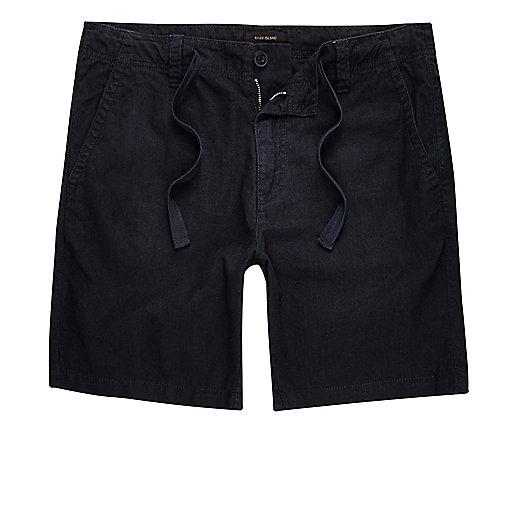 Navy linen blend shorts
