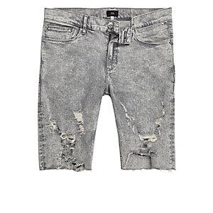 Grey acid wash ripped skinny fit denim shorts