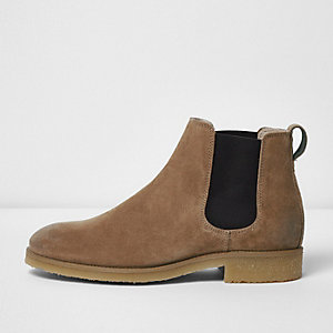 Stone suede Chelsea boots