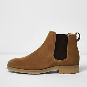 Bottines Chelsea en daim marron