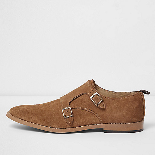 Medium brown suede monk strap shoes