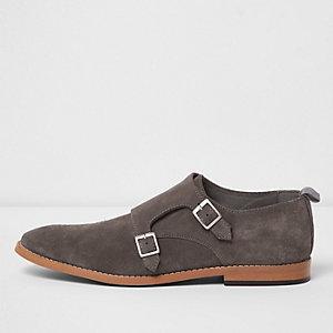 Grey suede monk strap shoes