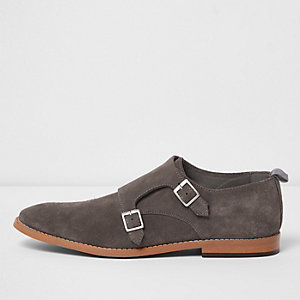 Grey suede monk strap shoes