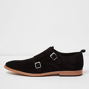 Black suede monk strap shoes
