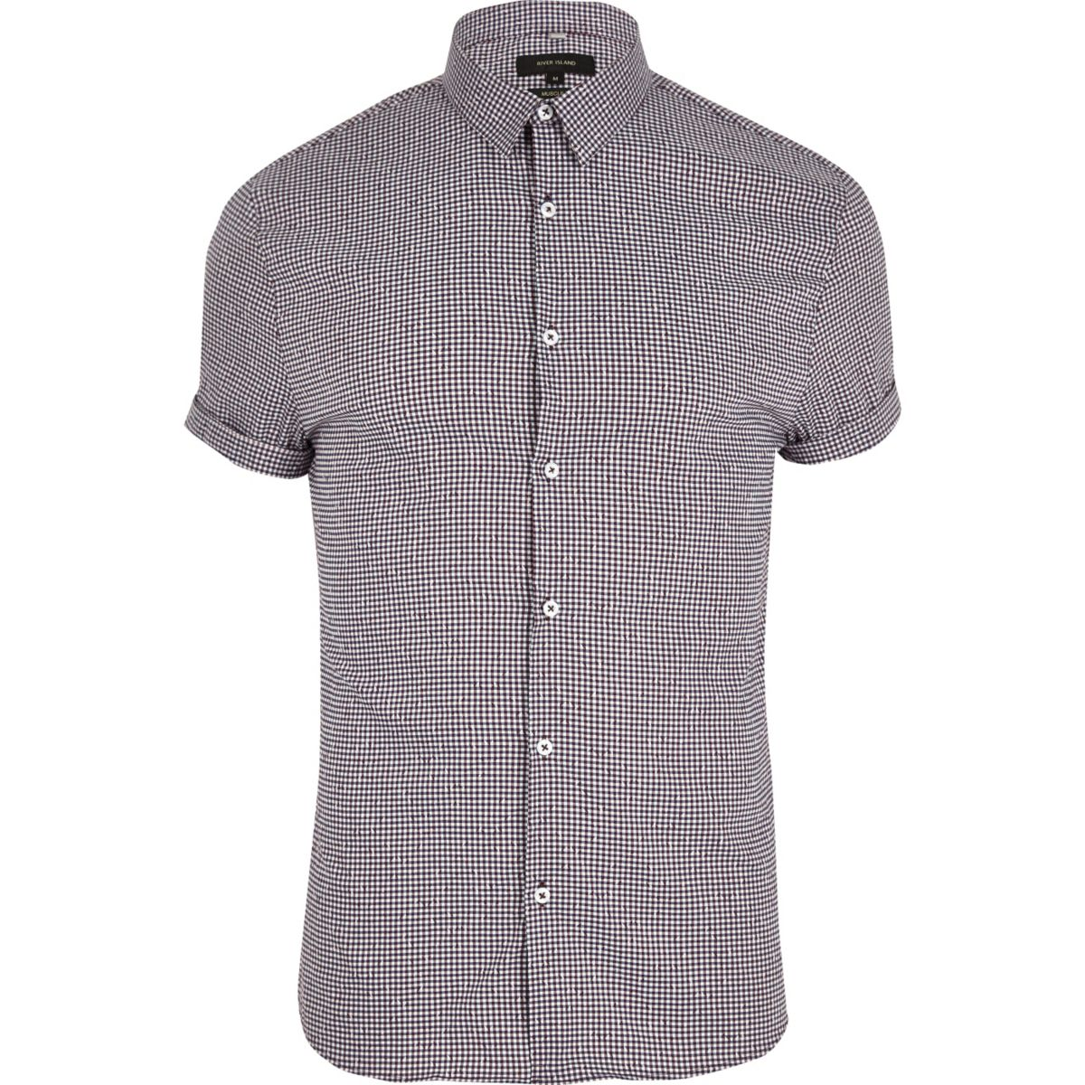 Purple gingham muscle fit short sleeve shirt