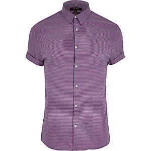 Chemise ajustée à carreaux vichy rouge à manches courtes