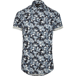 Blue floral short sleeve slim fit shirt